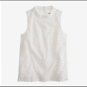 j crew ultra eyelet shell white top